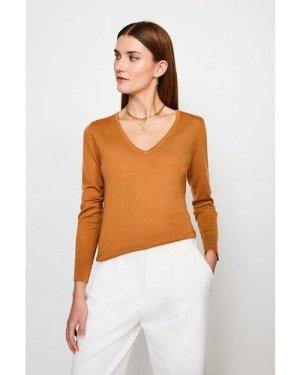 Karen Millen Merino Wool V-Neck Jumper -, Camel