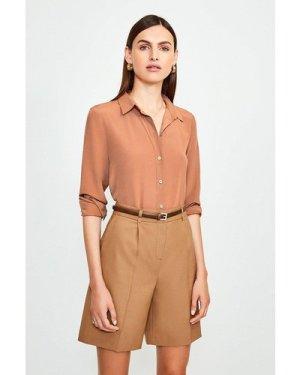 Karen Millen Silk Satin Slim Fit Shirt -, Orange