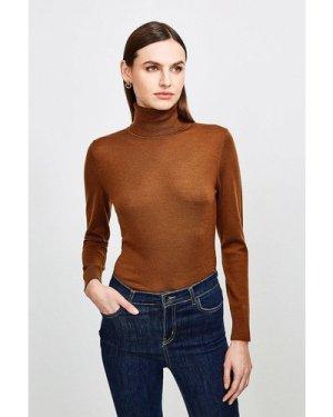 Karen Millen Merino Wool Roll Neck Jumper -, Brown