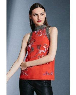 Karen Millen Embroidery Beaded Detail Halter Top -, Orange