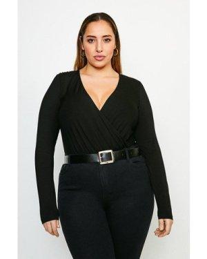 Karen Millen Curve Military Wrap Front Jersey Body -, Black