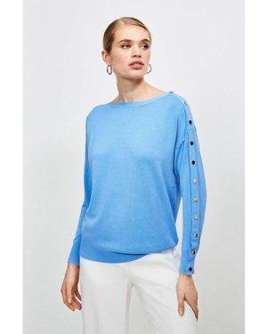 Karen Millen Silver Popper Slouchy Jumper -, Pale Blue