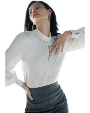 Karen Millen Black Label Silk High Neck Jacquard Blouse -, Ivory