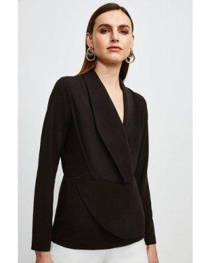 Karen Millen Drape Long Sleeve Top -, Black