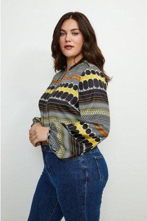 Karen Millen Curve Geo Stripe Zip Detail Blouse -, Yellow