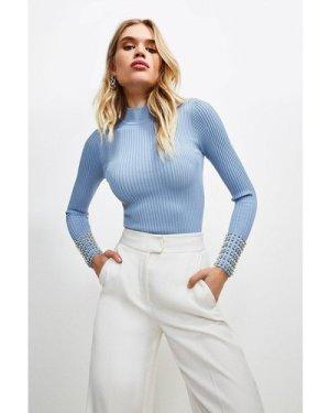 Karen Millen Pearl Cuff Knitted Rib Top -, Mid Blue