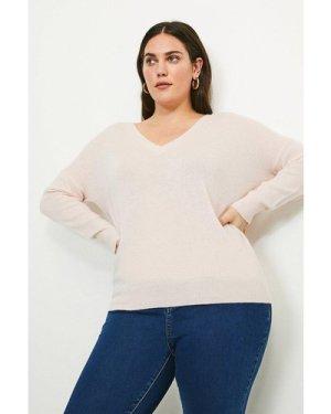 Karen Millen Curve Cashmere V Neck Jumper -, Pink