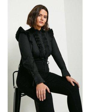 Karen Millen Curve Long Sleeve Pleated Ruffle Shirt -, Black