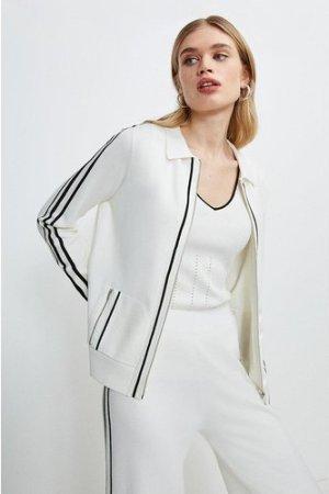 Karen Millen Stripe Trim Milano Zip Through Cardigan -, Cream