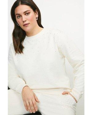 Karen Millen Curve Lounge Diamante Jersey Sweatshirt -, Cream