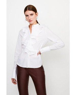 Karen Millen Cotton Ruffle Detail Sleeved Shirt -, White