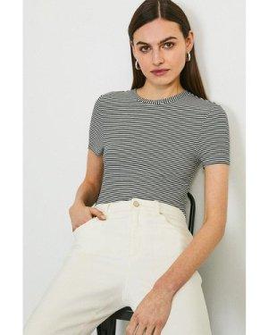 Karen Millen Stripe Ribbed Jersey T-Shirt -, Black