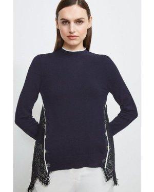 Karen Millen Lace Back Knit Jumper -, Navy