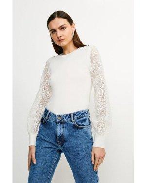 Karen Millen Lace Sleeve Knit Jumper -, Ivory