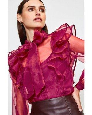 Karen Millen Bow Front Ruffle Organza Top -, Red