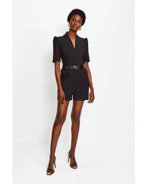 Karen Millen Forever Belted Playsuit -, Black