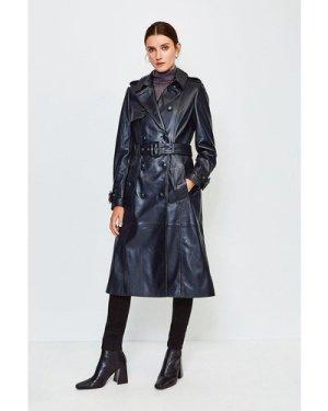 Karen Millen Leather Trench Coat -, Navy