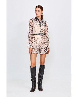 Karen Millen Leopard Print And PU Trim Playsuit -, Brown