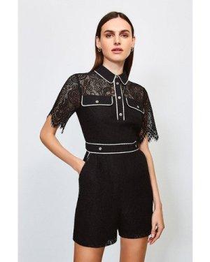 Karen Millen Lace Short Sleeved Playsuit -, Black
