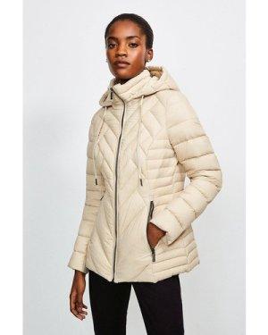 Karen Millen Lightweight Feather Down Packable Padded Jacket -, Brown
