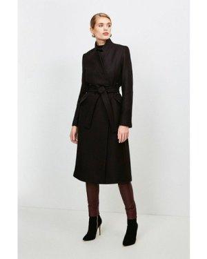 Karen Millen Notch Neck Wool Blend Rivet Coat -, Black