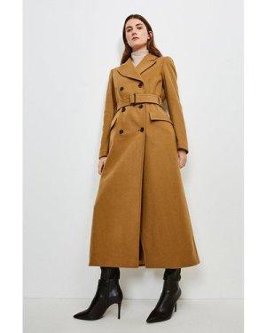 Karen Millen Wool Rich Buckle Belted Double Breasted Coat -, Camel