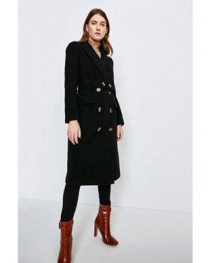 Karen Millen Wool Rich Button Belted Double Breasted Coat -, Black