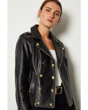 Karen Millen Military Leather Biker -, Black