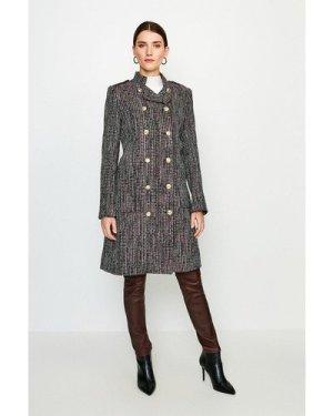Karen Millen Tweed Military Double Breasted Coat -, Navy