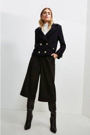 Karen Millen Wool Pea Coat -, Navy
