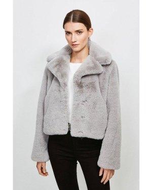 Karen Millen Cropped Faux Fur Jacket -, Grey
