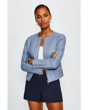 Karen Millen Leather Quilted Biker Jacket -, Blue