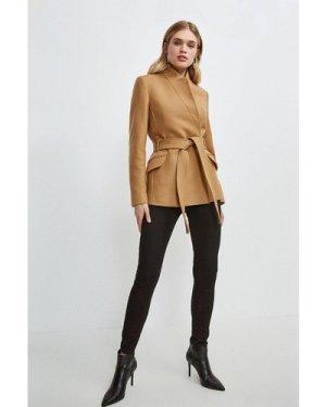 Karen Millen Notch Neck Short Coat -, Camel