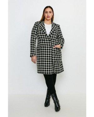 Karen Millen Curve Houndstooth PU Collar Coat -, Mono