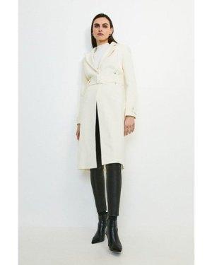 Karen Millen Italian Wool Rich Popper Coat -, Ivory