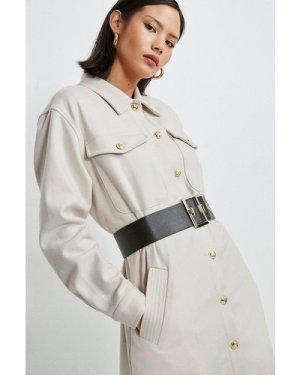 Karen Millen Wool Blend Longline Shirt Coat -, Brown