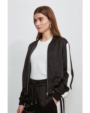 Karen Millen Luxe Crepe Satin Bomber Jacket -, Blackwhite