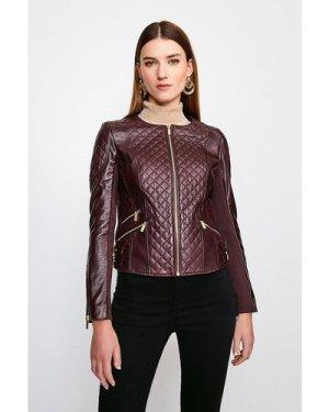 Karen Millen Leather Quilted Biker Jacket -, Fig