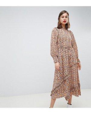 Mango synch waist maxi dress in snake print-Brown