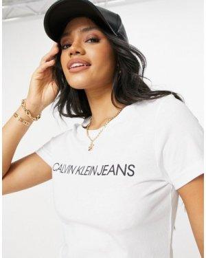 Calvin Klein Jeans institutional logo slim fit t shirt-White