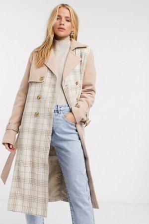 Fashion Union trench coat in check-Multi