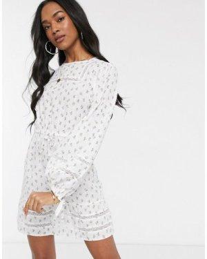 Fashion Union mini dress with floral print-White