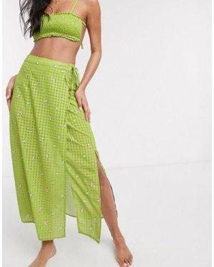 Fashion Union midi beach sarong in green floral