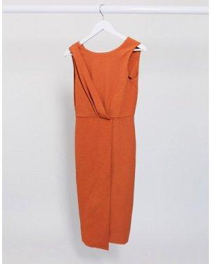 Closet London pleated front pencil dress in terracotta-Orange