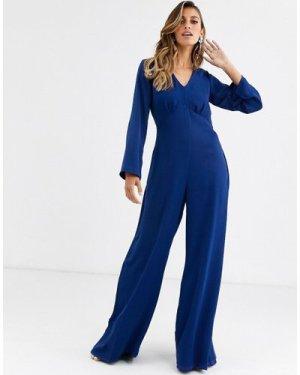 Closet v neck wide leg jumpsuit-Blue