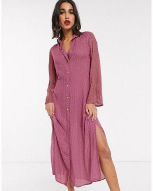 Closet shirt dress with tie front in pink
