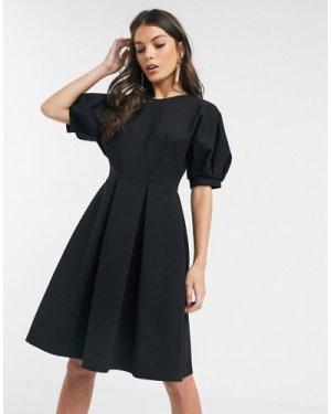 Closet London balloon sleeve skater dress in black