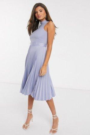 Closet London pleated skirt midi dress in lilac-Purple