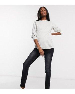 Mamalicious straight leg jeans in dark blue