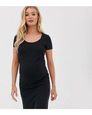 Mamalicious Maternity nursing organic cotton bodycon mini dress in black